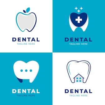 Pacote de modelo de logotipo odontológico plano