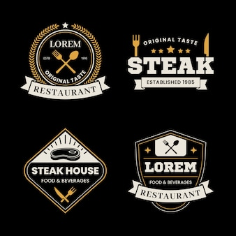 Pacote de modelo de logotipo retrô de restaurante
