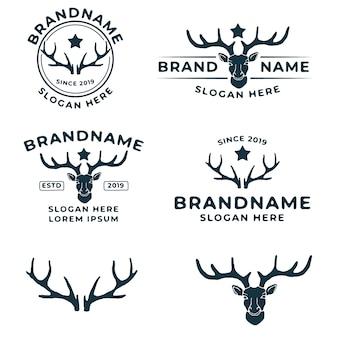 Pacote de modelo de logotipo vintage de veado