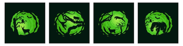 Pacote de modelo de noite de floresta animal
