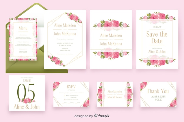 Pacote de modelo de papelaria casamento floral