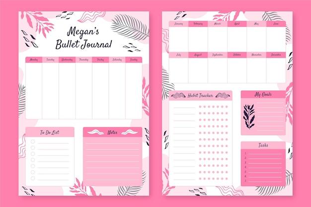Pacote de modelo de planejador de diário com marcadores