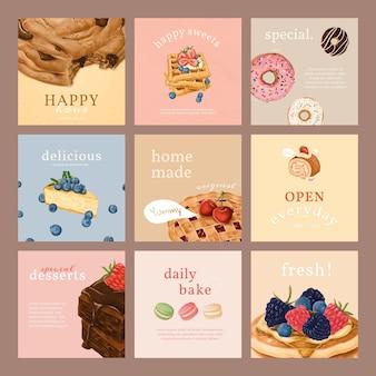 Pacote de modelos de anúncios do instagram de padaria desenhado à mão