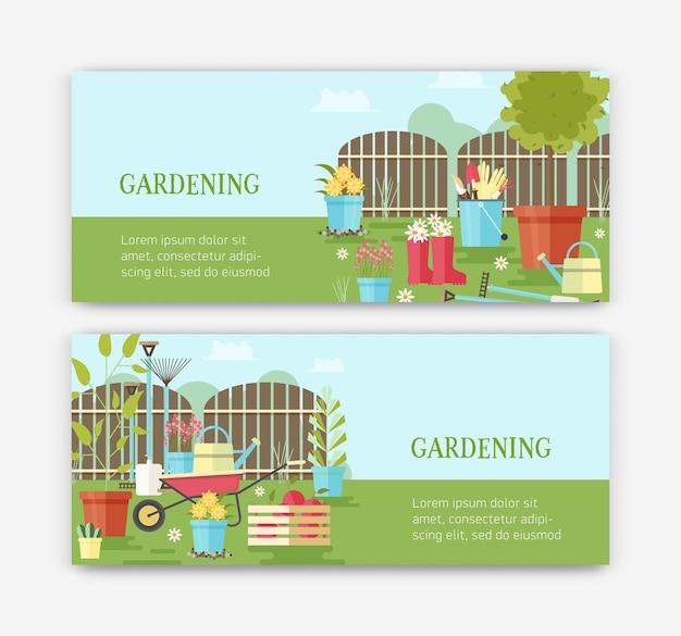 Pacote de modelos de banner horizontal com flores crescendo em vasos, ferramentas de jardinagem, equipamentos para cultivo de plantas, frutas colhidas e local para texto.
