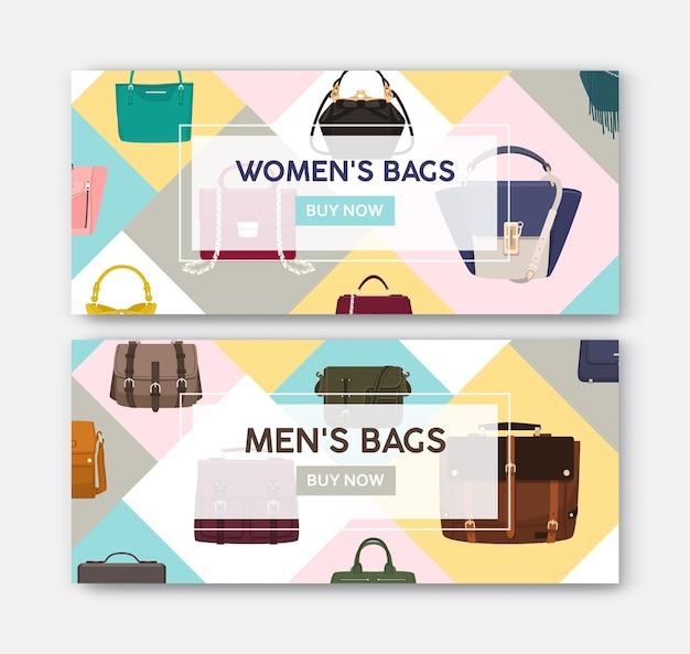 Pacote de modelos de banner horizontal da web com bolsas e bolsas masculinas e femininas