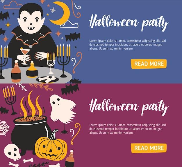 Pacote de modelos de banner horizontal da web com vampiros bebendo sangue de vidro e outras criaturas malignas