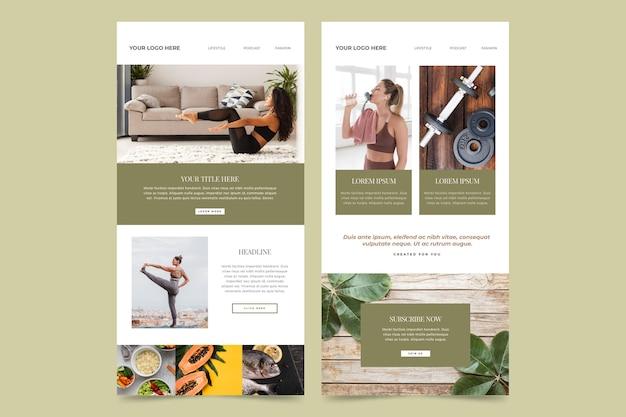 Pacote de modelos de e-mail de fitness