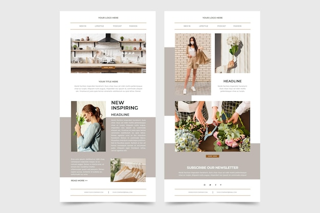Pacote de modelos de e-mail do blogger com fotos