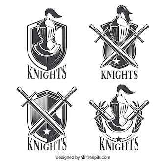 Pacote de modelos de emblema de cavaleiro cinza