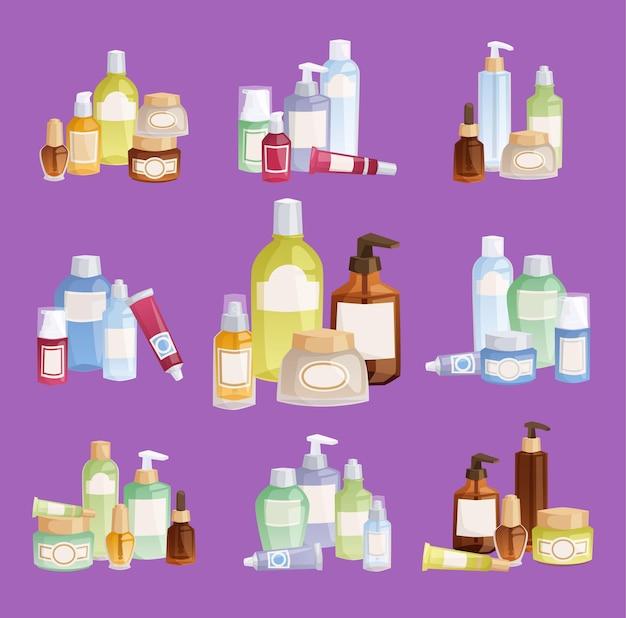 Pacote de modelos de frascos de cosméticos cosmetologia, maquiagem, beleza, suprimentos