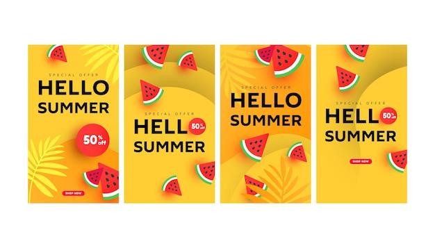 Pacote de modelos de histórias de banner de venda de verão editável com elementos de melancia fatiada, líquido de forma mínima