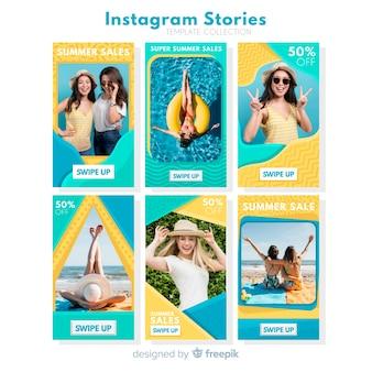 Pacote de modelos de histórias de instagram de venda de verão