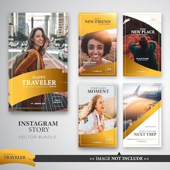 Pacote de modelos de histórias do viajante instagram na cor ouro.