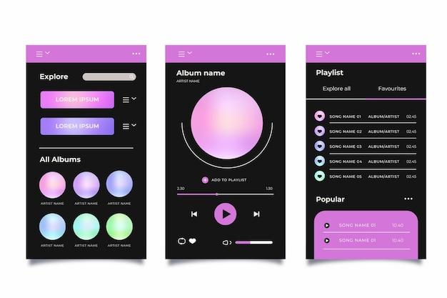 Pacote de modelos de interface de aplicativo do music player