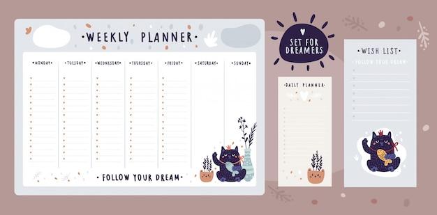 Pacote de modelos de lista de desejos e planejador para sonhadores