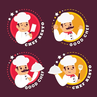 Pacote de modelos de logotipo de chef de design plano