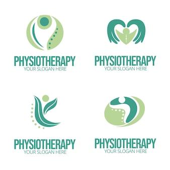 Pacote de modelos de logotipo de fisioterapia plana