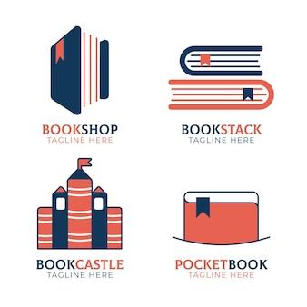 Pacote de modelos de logotipo de livro plano