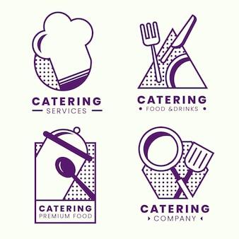Pacote de modelos de logotipo para flat catering Vetor grátis