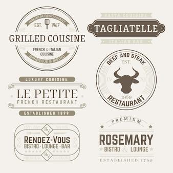 Pacote de modelos de logotipo retrô de restaurante