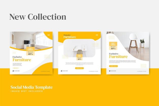 Pacote de modelos de postagem de mídia social instagram para venda de móveis