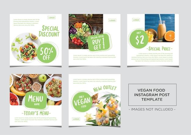 Pacote de modelos de postagem de mídia social vegan food