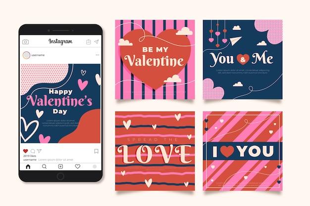 Pacote de modelos de postagem de venda do dia dos namorados