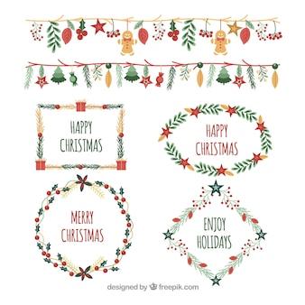 Pacote de moldura de aquarela e bordas de natal