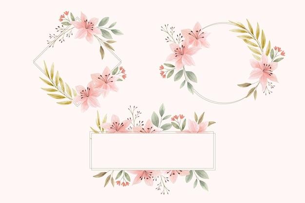 Pacote de moldura floral em aquarela