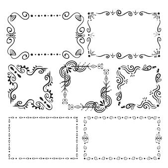 Pacote de moldura ornamental desenhada à mão