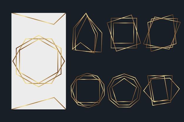 Pacote de moldura poligonal dourada