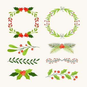 Pacote de molduras e bordas de natal de mão desenhada