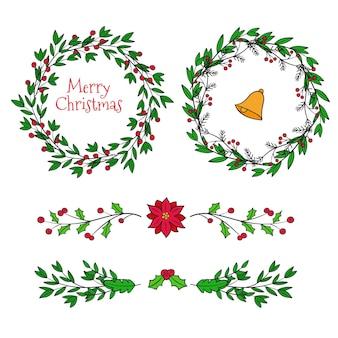 Pacote de molduras e bordas de natal