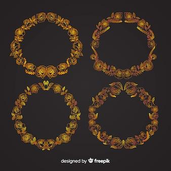 Pacote de molduras florais douradas