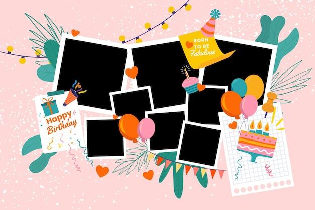 Pacote de molduras planas de colagem de aniversário