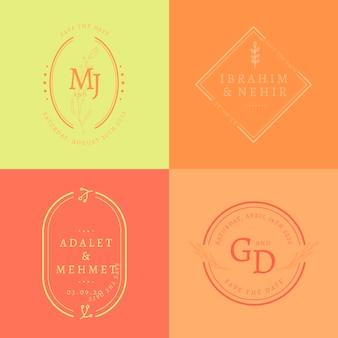 Pacote de monograma de casamento colorido