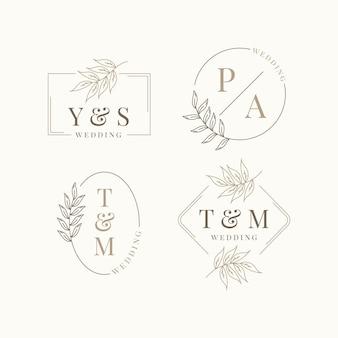 Pacote de monograma de casamento de design plano linear