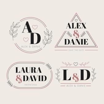 Pacote de monograma de casamento de design plano