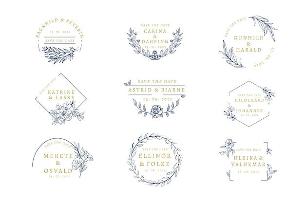 Pacote de monograma de casamento elegante