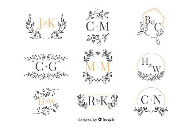 Pacote de monograma de casamento ornamental