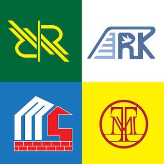 Pacote de monograma plano moderno com logotipo definido com rr, ark, ms e tm