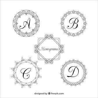 Pacote de monogramas circulares vintage