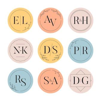 Pacote de monogramas de casamento colorido