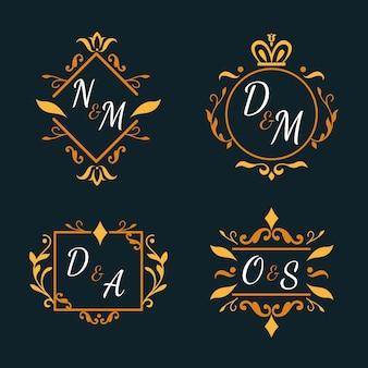 Pacote de monogramas de casamento floral