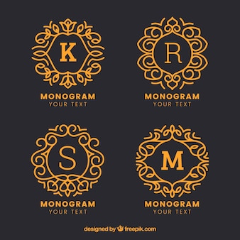 Pacote de monogramas desenhados a mão de ouro