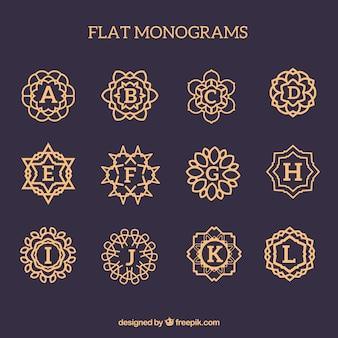 Pacote de monogramas dourados