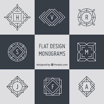 Pacote de monogramas elegantes em estilo linear