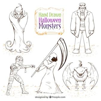 Pacote de monstros do dia das bruxas desenhados à mão