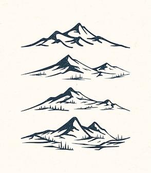 Pacote de montanha à mão simples e natural desenhado para logotipo e design de roupas