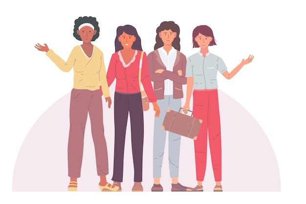 Pacote de mulheres empresárias confiantes desenhadas à mão